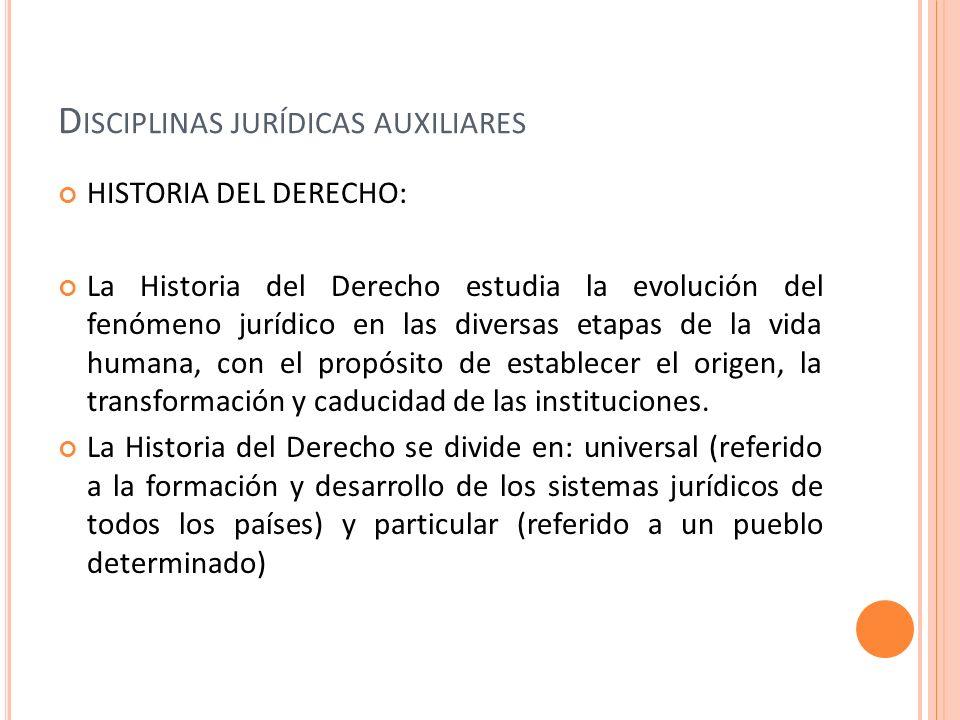 D ISCIPLINAS JURÍDICAS AUXILIARES HISTORIA DEL DERECHO: La Historia del Derecho estudia la evolución del fenómeno jurídico en las diversas etapas de l