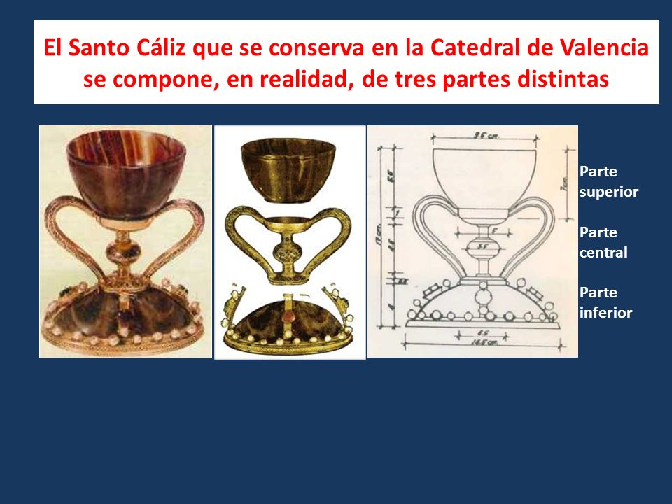 El Santo Cáliz que se conserva en la Catedral de Valencia se compone, en realidad, de tres partes distintas Parte superior Parte central Parte inferior