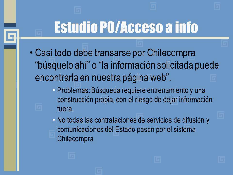 Estudio PO/Acceso a info Casi todo debe transarse por Chilecompra búsquelo ahí o la información solicitada puede encontrarla en nuestra página web.