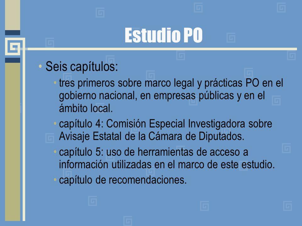 Estudio PO Seis capítulos: tres primeros sobre marco legal y prácticas PO en el gobierno nacional, en empresas públicas y en el ámbito local.