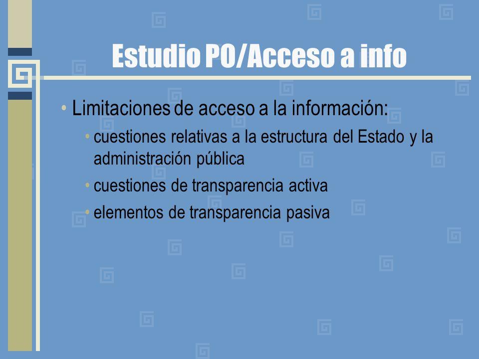 Estudio PO/Acceso a info Limitaciones de acceso a la información: cuestiones relativas a la estructura del Estado y la administración pública cuestiones de transparencia activa elementos de transparencia pasiva