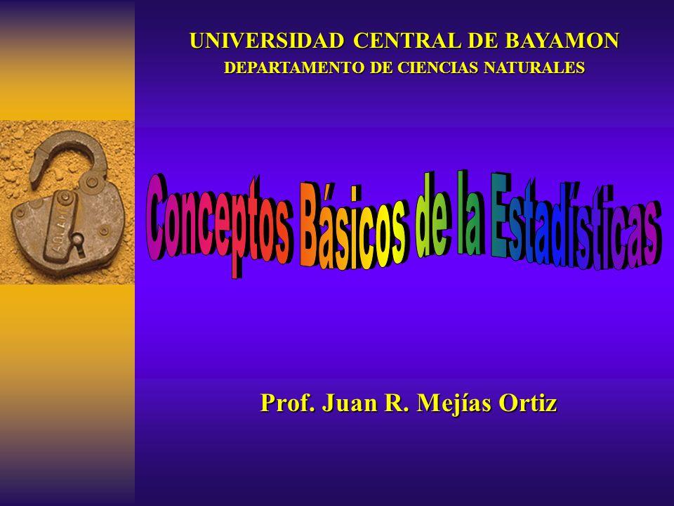 Prof. Juan R. Mejías Ortiz UNIVERSIDAD CENTRAL DE BAYAMON DEPARTAMENTO DE CIENCIAS NATURALES