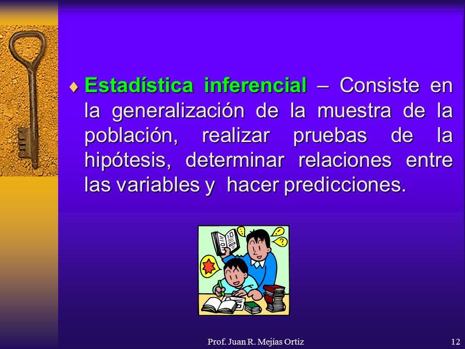 Prof. Juan R. Mejías Ortiz12 Estadística inferencial – Consiste en la generalización de la muestra de la población, realizar pruebas de la hipótesis,