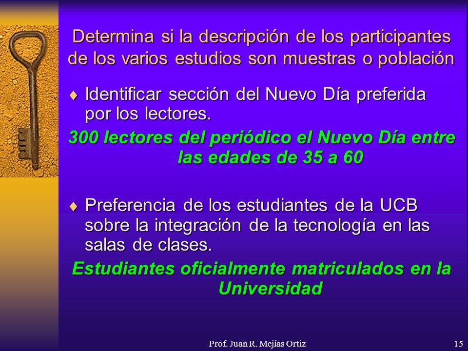 Prof. Juan R. Mejías Ortiz15 Determina si la descripción de los participantes de los varios estudios son muestras o población Identificar sección del