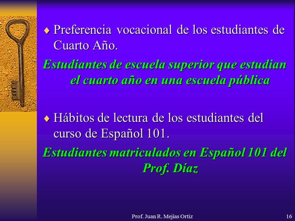 Prof. Juan R. Mejías Ortiz16 Preferencia vocacional de los estudiantes de Cuarto Año. Preferencia vocacional de los estudiantes de Cuarto Año. Estudia