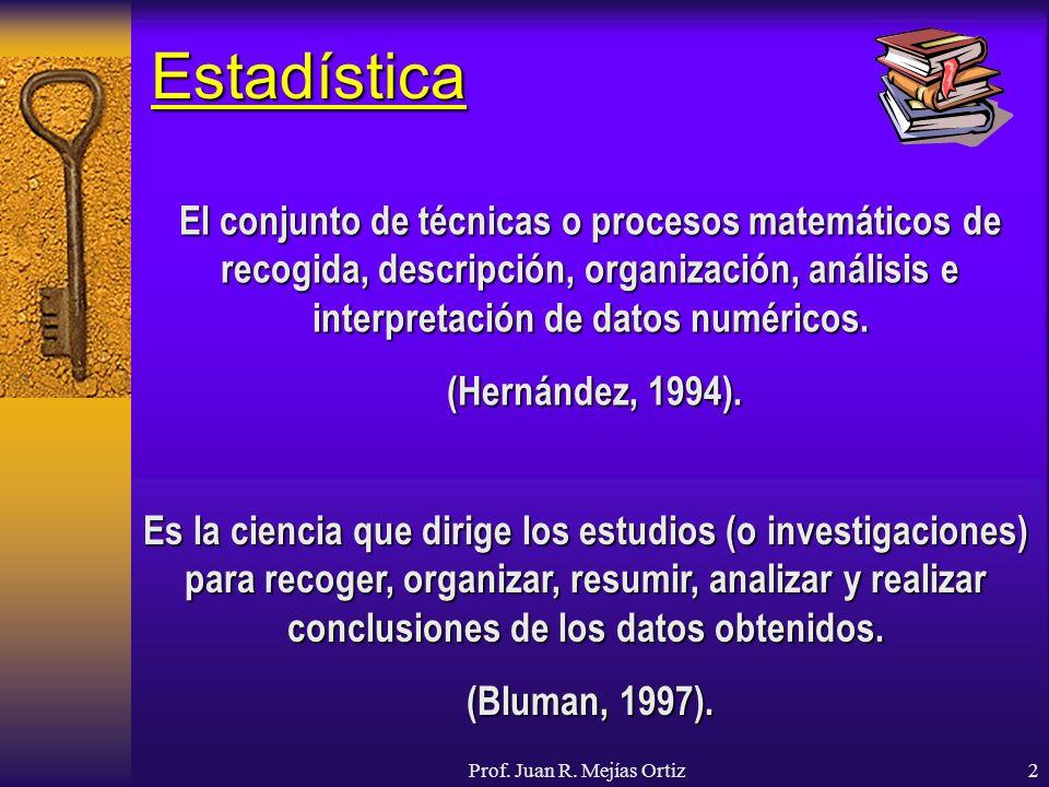 Prof. Juan R. Mejías Ortiz2 Estadística El conjunto de técnicas o procesos matemáticos de recogida, descripción, organización, análisis e interpretaci