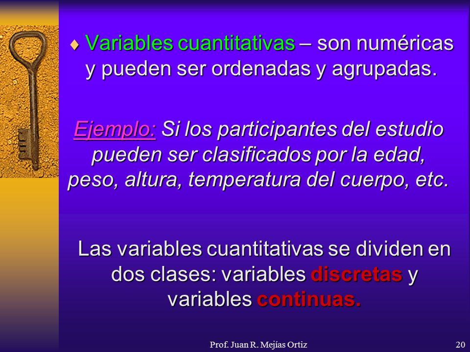 Prof. Juan R. Mejías Ortiz20 Variables cuantitativas – son numéricas y pueden ser ordenadas y agrupadas. Variables cuantitativas – son numéricas y pue