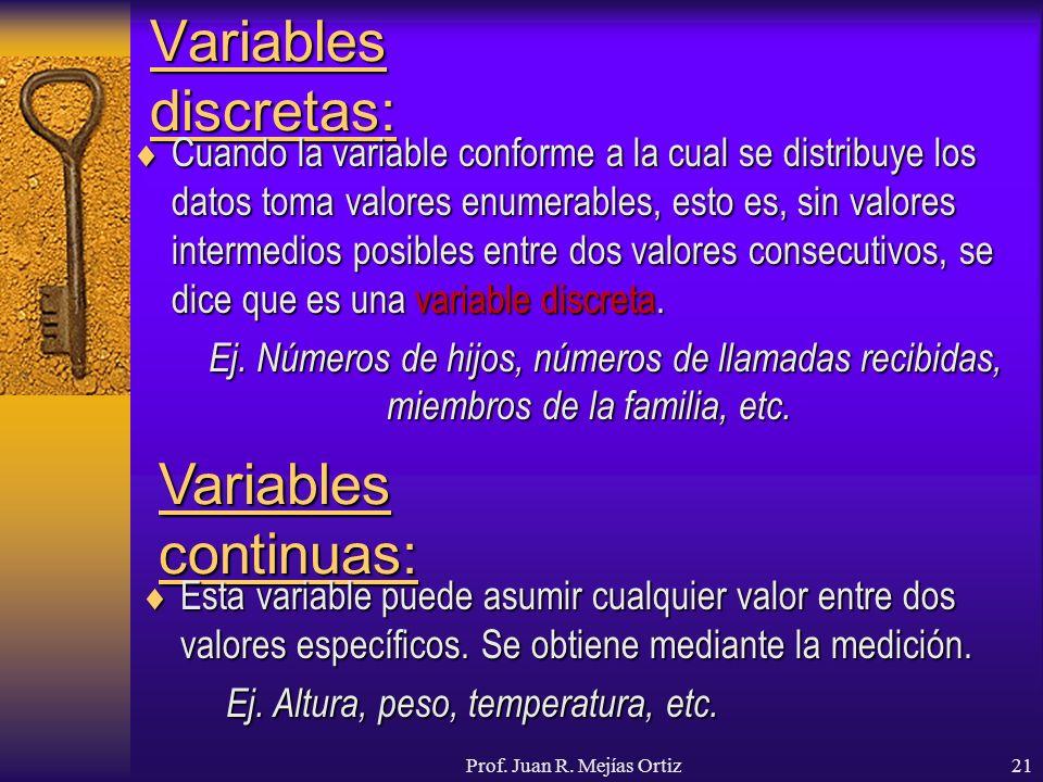 Prof. Juan R. Mejías Ortiz21 Variables discretas: Cuando la variable conforme a la cual se distribuye los datos toma valores enumerables, esto es, sin