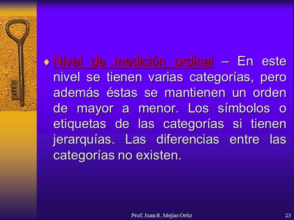 Prof. Juan R. Mejías Ortiz23 Nivel de medición ordinal – En este nivel se tienen varias categorías, pero además éstas se mantienen un orden de mayor a