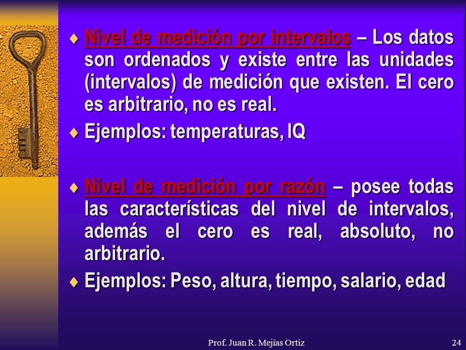 Prof. Juan R. Mejías Ortiz24 Nivel de medición por intervalos – Los datos son ordenados y existe entre las unidades (intervalos) de medición que exist