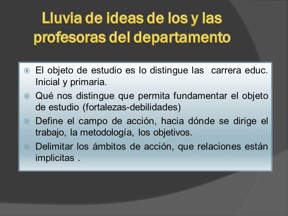El objeto de estudio es lo distingue las carrera educ. Inicial y primaria. Qué nos distingue que permita fundamentar el objeto de estudio (fortalezas-
