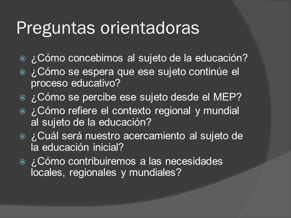 Preguntas orientadoras ¿Cómo concebimos al sujeto de la educación? ¿Cómo se espera que ese sujeto continúe el proceso educativo? ¿Cómo se percibe ese
