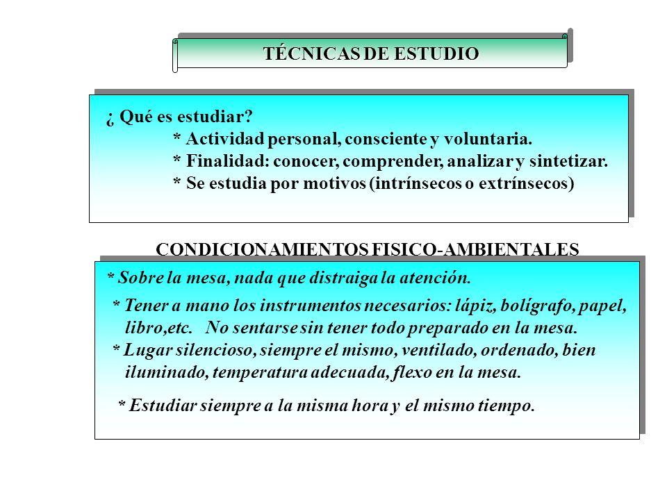 TÉCNICAS DE ESTUDIO ¿ Qué es estudiar.* Actividad personal, consciente y voluntaria.