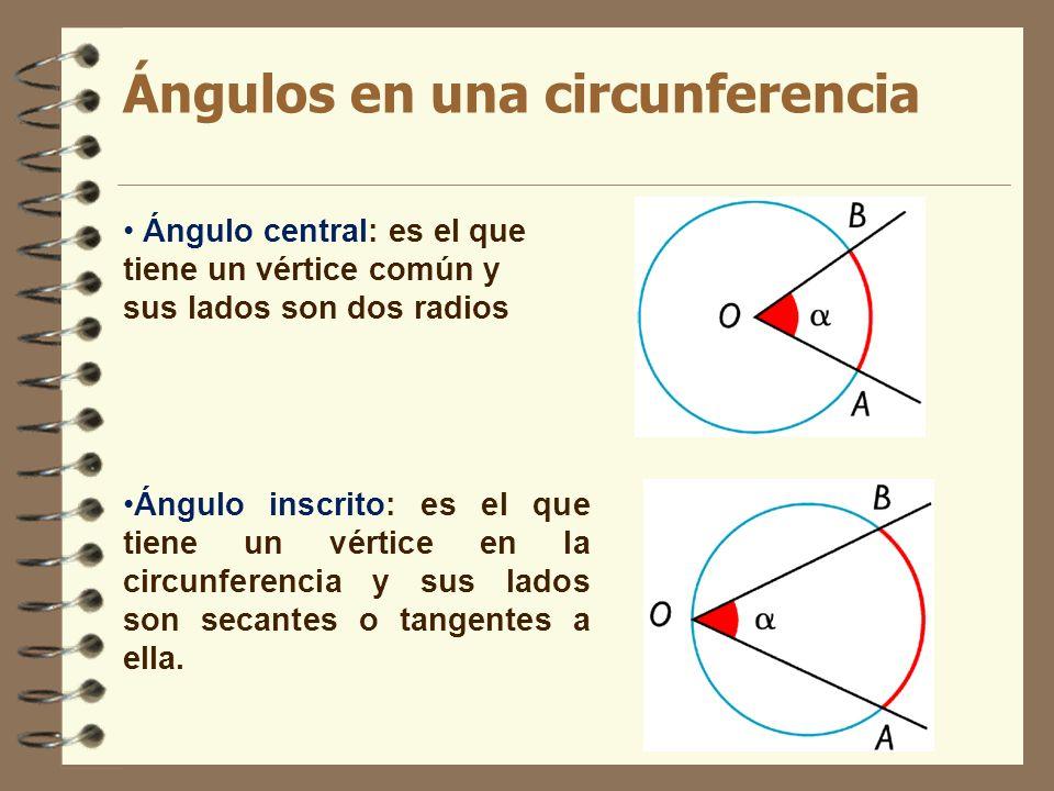 Ángulos en una circunferencia Ángulo inscrito: es el que tiene un vértice en la circunferencia y sus lados son secantes o tangentes a ella. Ángulo cen