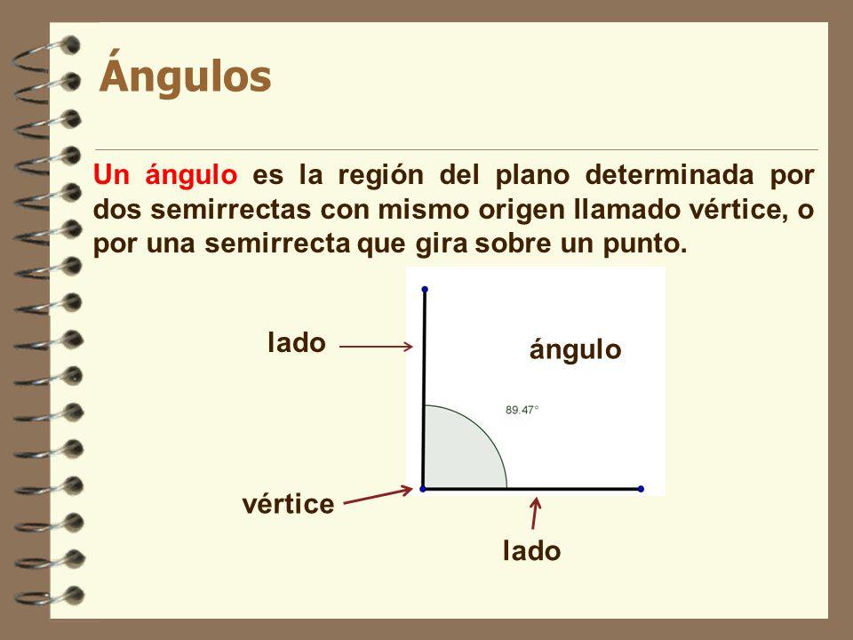 Ángulos Un ángulo es la región del plano determinada por dos semirrectas con mismo origen llamado vértice, o por una semirrecta que gira sobre un punt