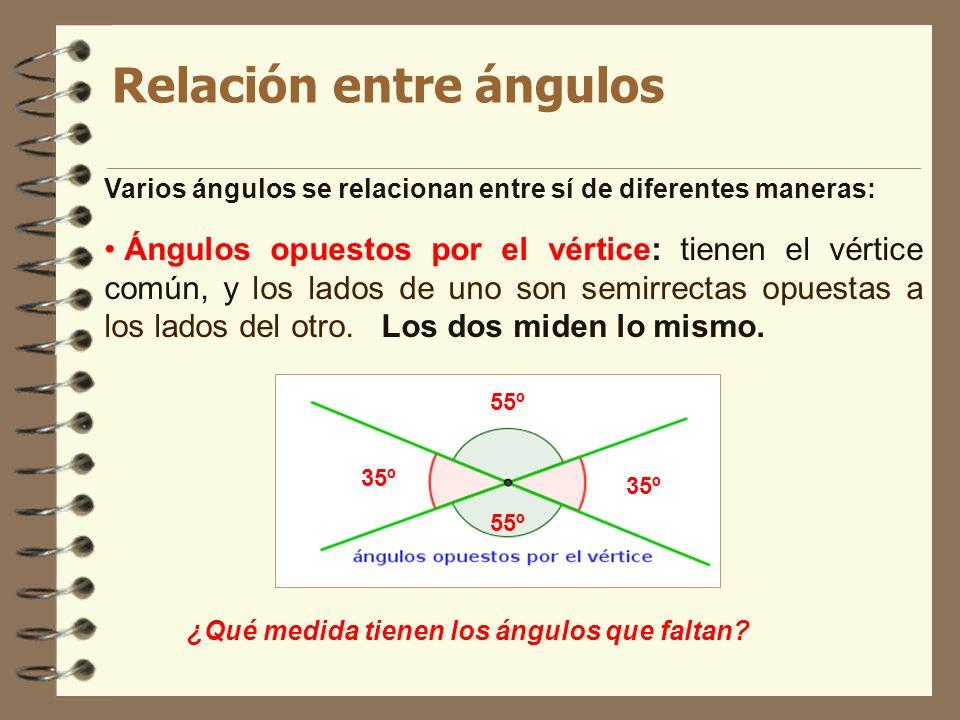 Relación entre ángulos Varios ángulos se relacionan entre sí de diferentes maneras: Ángulos opuestos por el vértice: tienen el vértice común, y los la