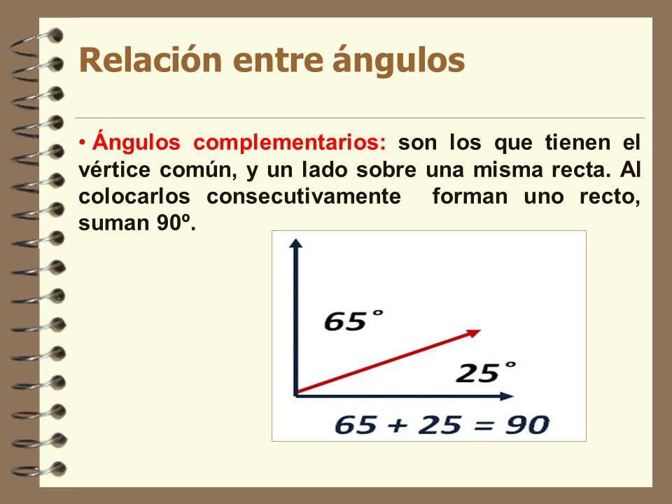 Relación entre ángulos Ángulos complementarios: son los que tienen el vértice común, y un lado sobre una misma recta. Al colocarlos consecutivamente f