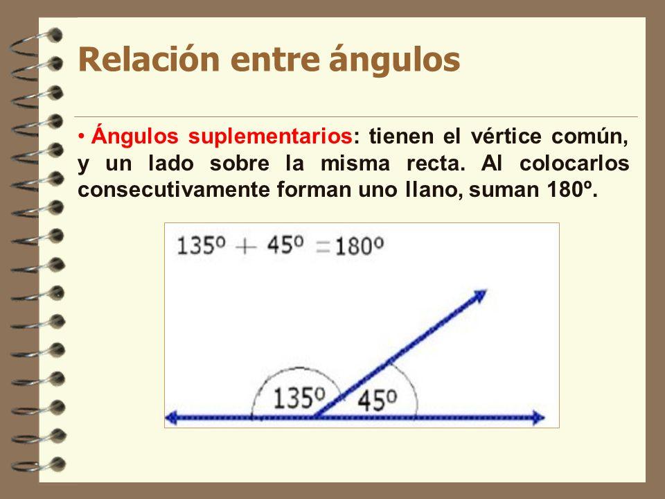 Relación entre ángulos Ángulos suplementarios: tienen el vértice común, y un lado sobre la misma recta. Al colocarlos consecutivamente forman uno llan