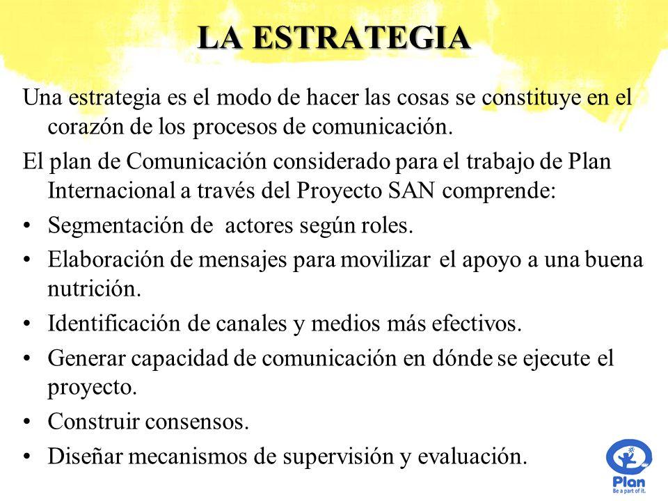 LA ESTRATEGIA Una estrategia es el modo de hacer las cosas se constituye en el corazón de los procesos de comunicación. El plan de Comunicación consid