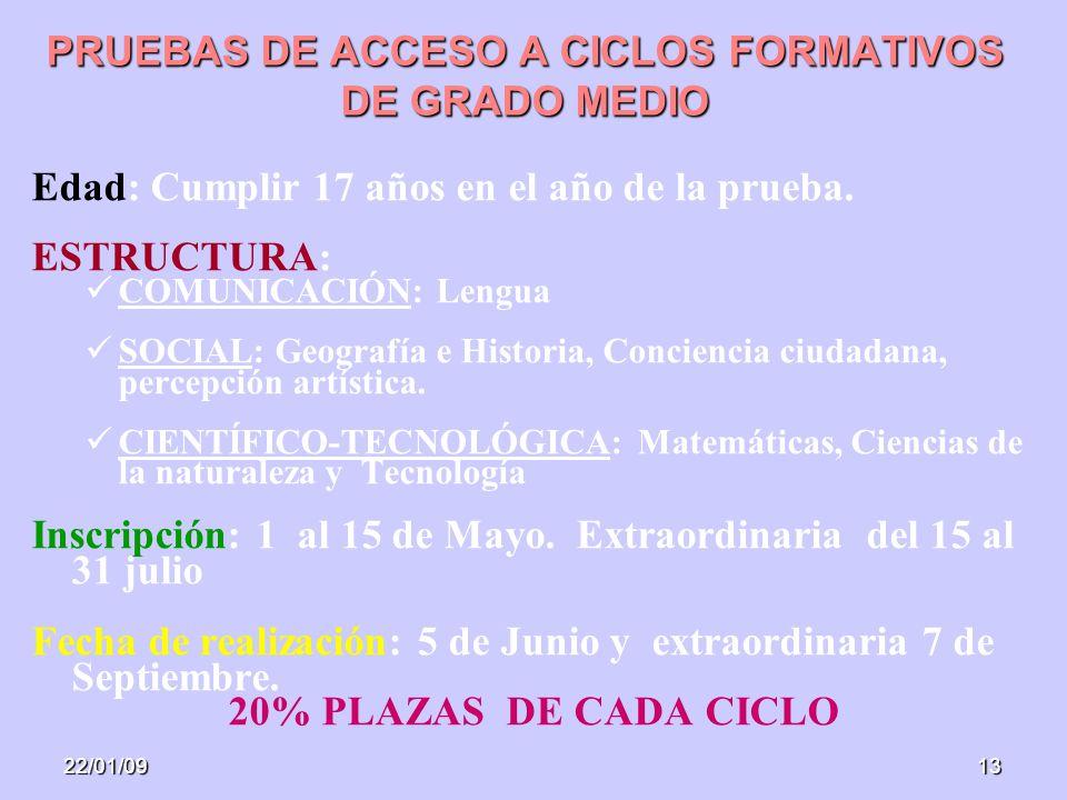 22/01/0913 PRUEBAS DE ACCESO A CICLOS FORMATIVOS DE GRADO MEDIO Edad: Cumplir 17 años en el año de la prueba.