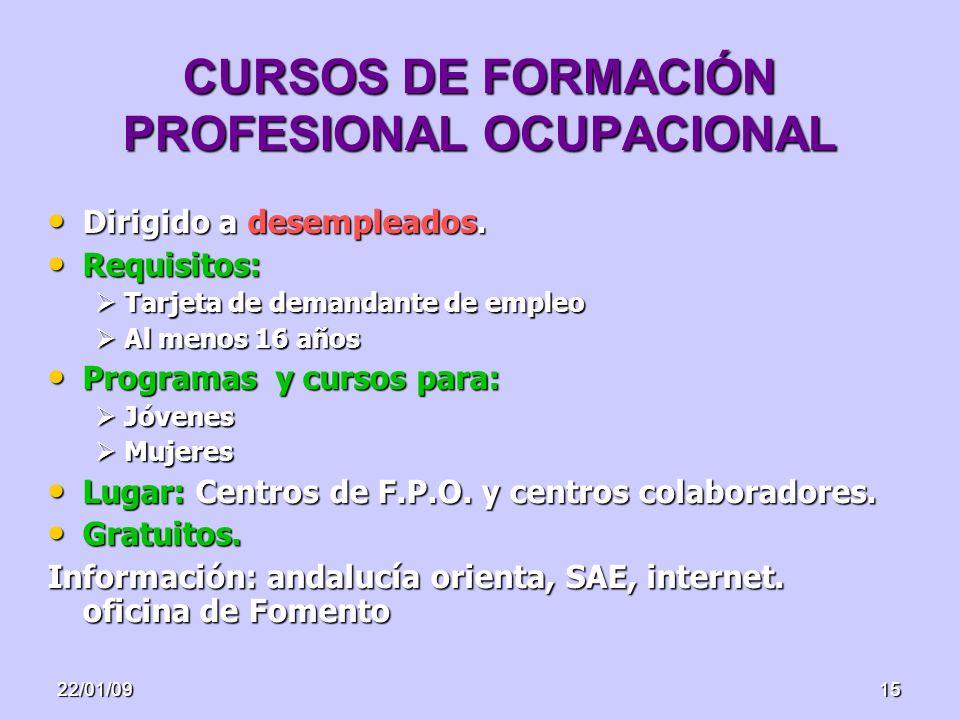 22/01/0915 CURSOS DE FORMACIÓN PROFESIONAL OCUPACIONAL Dirigido a desempleados. Dirigido a desempleados. Requisitos: Requisitos: Tarjeta de demandante