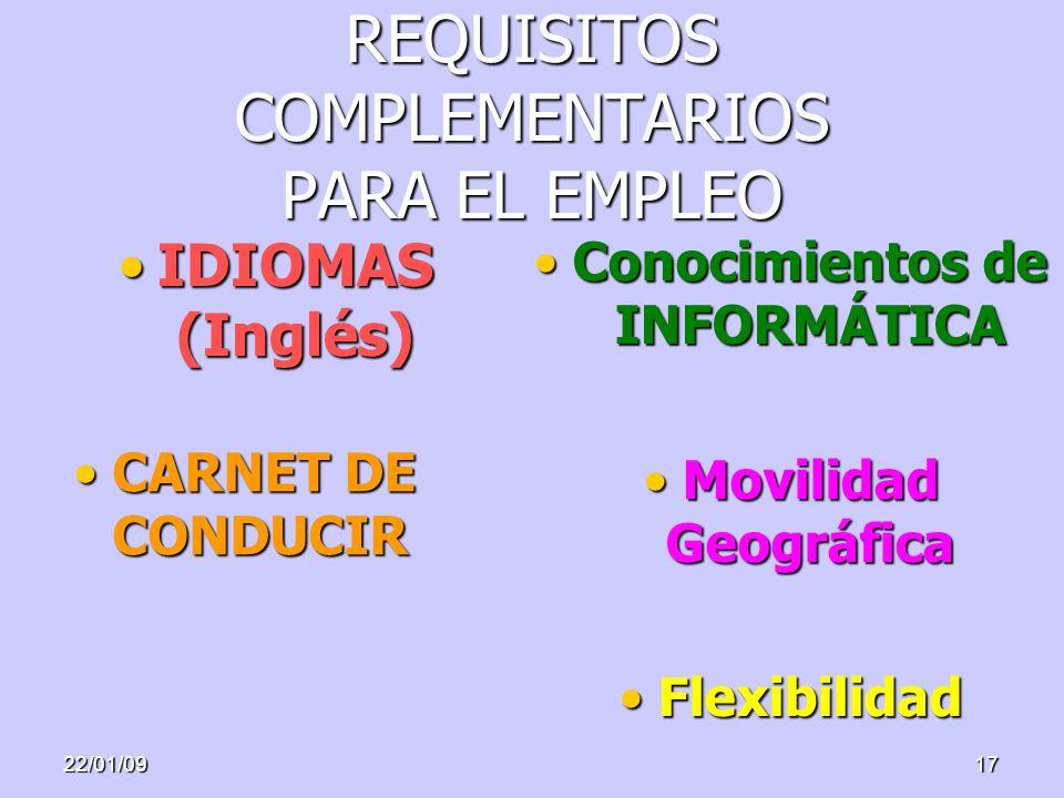 22/01/0917 REQUISITOS COMPLEMENTARIOS PARA EL EMPLEO IDIOMAS (Inglés)IDIOMAS (Inglés) Conocimientos de INFORMÁTICAConocimientos de INFORMÁTICA Movilid