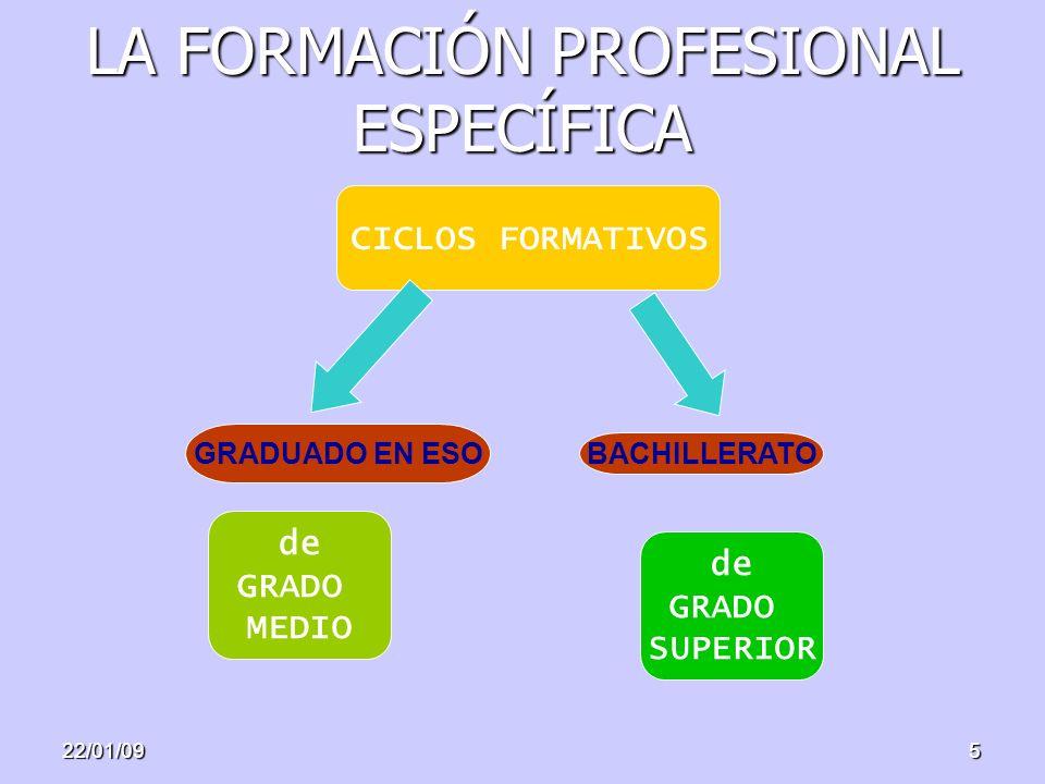 22/01/095 LA FORMACIÓN PROFESIONAL ESPECÍFICA CICLOS FORMATIVOS de GRADO MEDIO de GRADO SUPERIOR GRADUADO EN ESO BACHILLERATO
