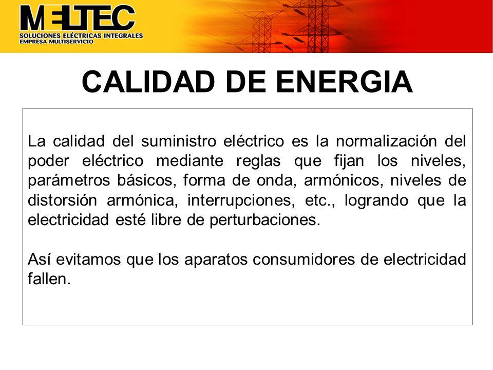 La calidad del suministro eléctrico es la normalización del poder eléctrico mediante reglas que fijan los niveles, parámetros básicos, forma de onda,