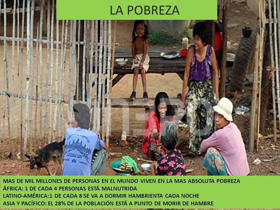 LA POBREZA MAS DE MIL MILLONES DE PERSONAS EN EL MUNDO VIVEN EN LA MAS ABSOLUTA POBREZA ÁFRICA: 1 DE CADA 4 PERSONAS ESTÁ MALNUTRIDA LATINO-AMÉRICA:1
