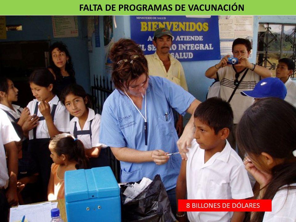 FALTA DE PROGRAMAS DE VACUNACIÓN 8 BILLONES DE DÓLARES