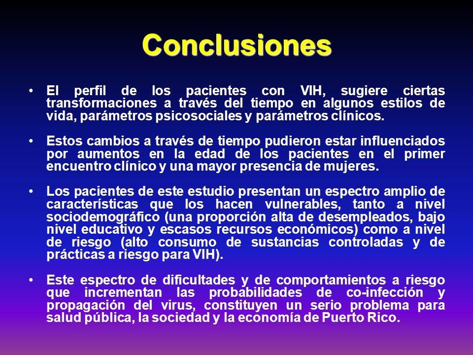 Conclusiones El perfil de los pacientes con VIH, sugiere ciertas transformaciones a través del tiempo en algunos estilos de vida, parámetros psicosoci