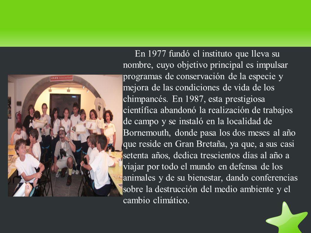 En 1977 fundó el instituto que lleva su nombre, cuyo objetivo principal es impulsar programas de conservación de la especie y mejora de las condicione