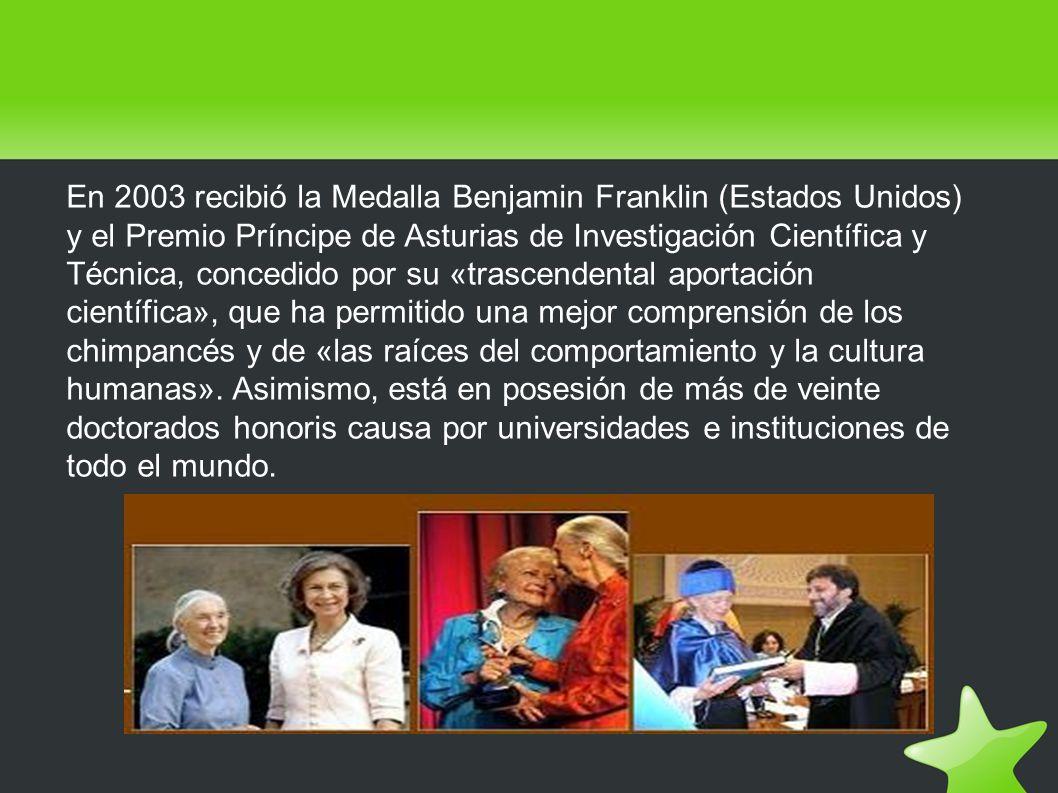 En 2003 recibió la Medalla Benjamin Franklin (Estados Unidos) y el Premio Príncipe de Asturias de Investigación Científica y Técnica, concedido por su