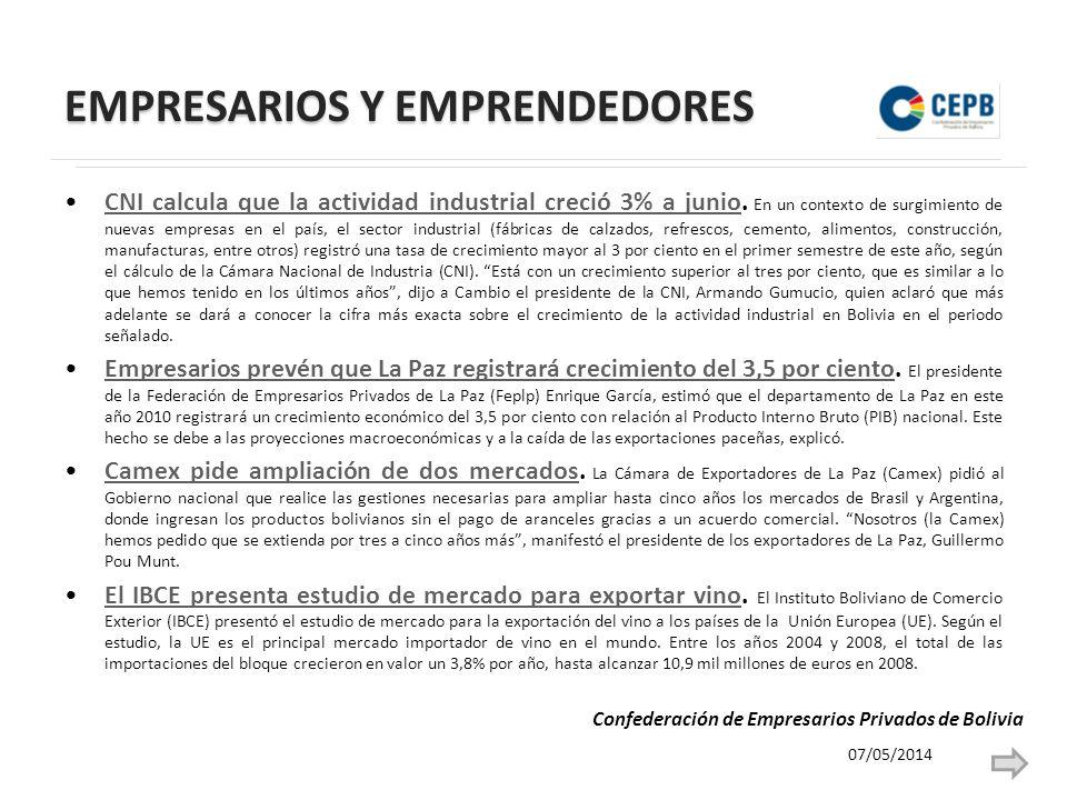 EMPRESARIOS Y EMPRENDEDORES CNI calcula que la actividad industrial creció 3% a junio.
