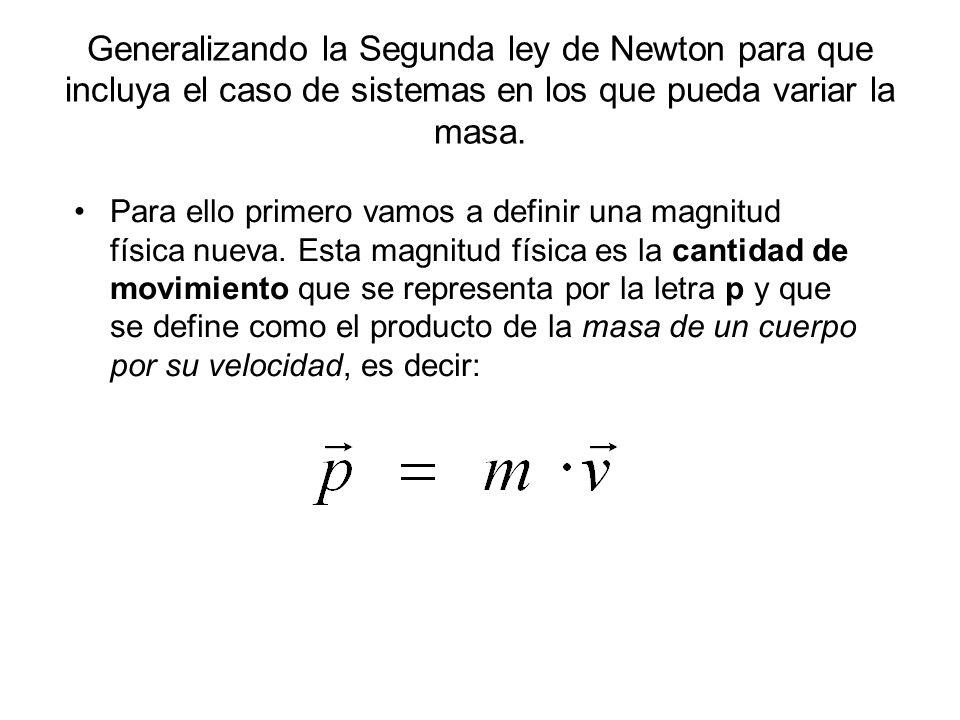 Generalizando la Segunda ley de Newton para que incluya el caso de sistemas en los que pueda variar la masa. Para ello primero vamos a definir una mag