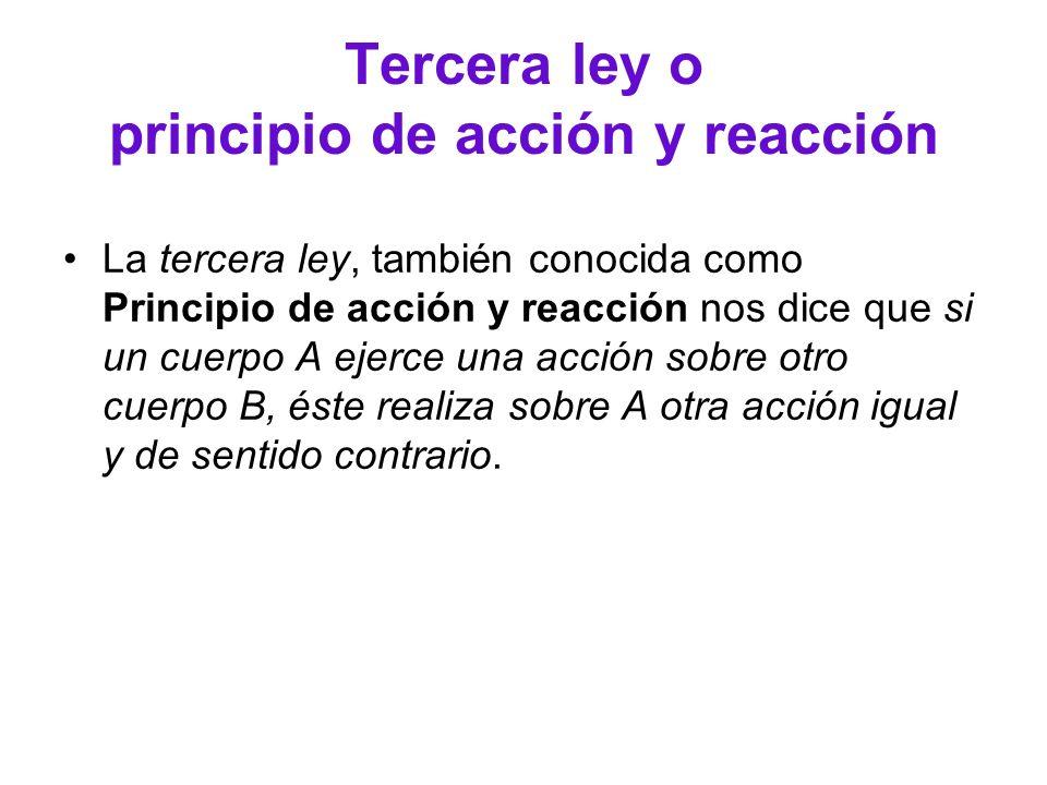 Tercera ley o principio de acción y reacción La tercera ley, también conocida como Principio de acción y reacción nos dice que si un cuerpo A ejerce u