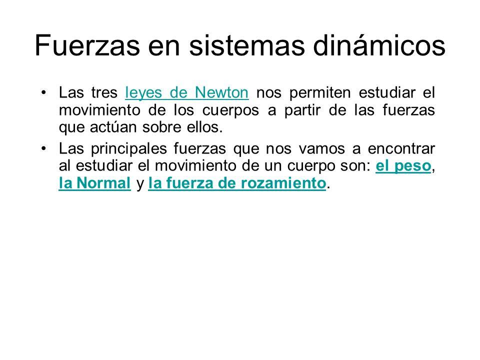 Fuerzas en sistemas dinámicos Las tres leyes de Newton nos permiten estudiar el movimiento de los cuerpos a partir de las fuerzas que actúan sobre ell