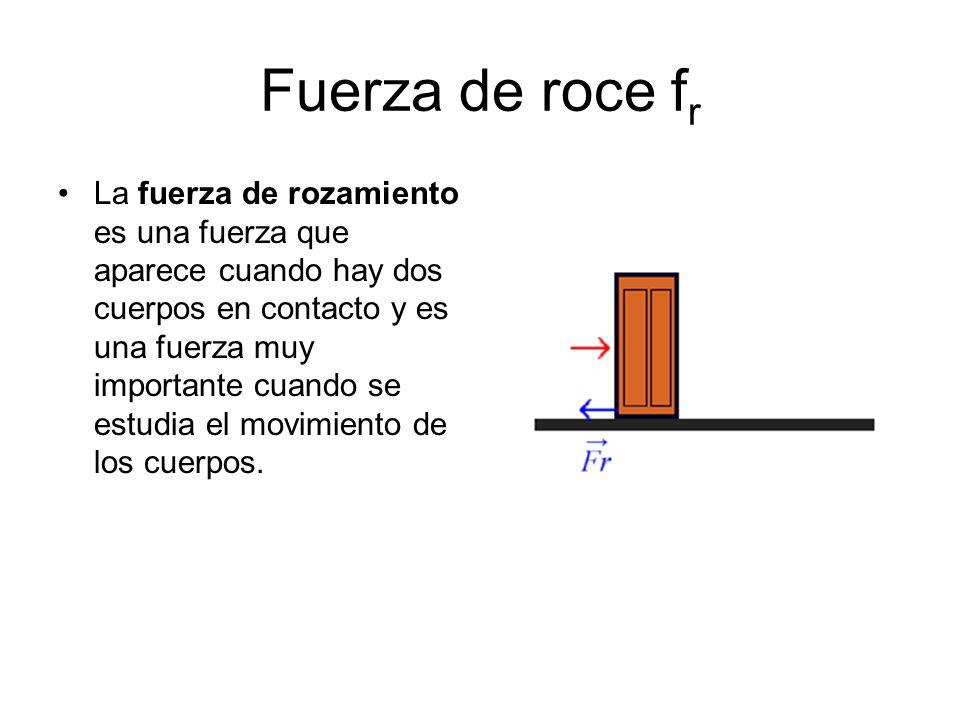 Fuerza de roce f r La fuerza de rozamiento es una fuerza que aparece cuando hay dos cuerpos en contacto y es una fuerza muy importante cuando se estud