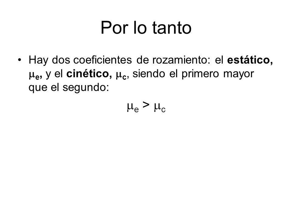 Por lo tanto Hay dos coeficientes de rozamiento: el estático, e, y el cinético, c, siendo el primero mayor que el segundo: e > c