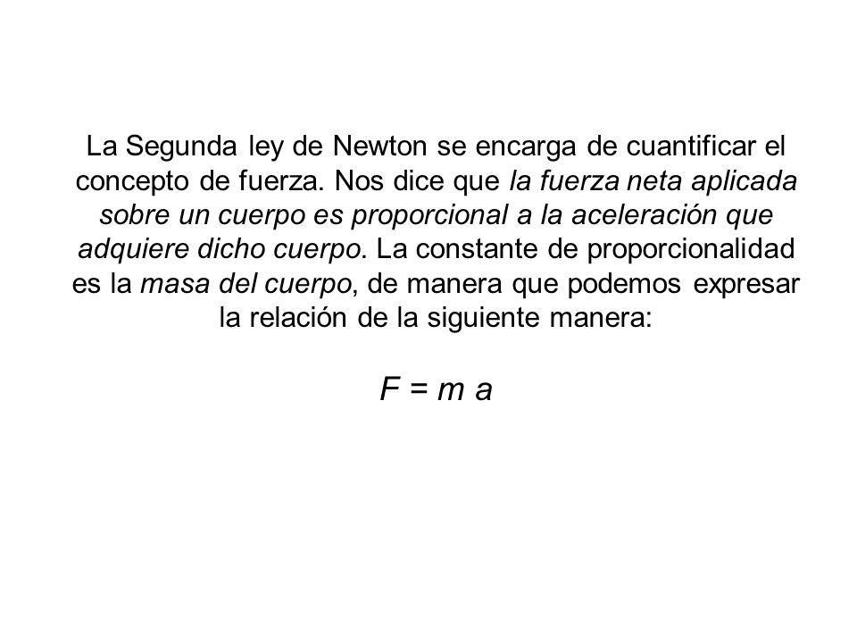 La Segunda ley de Newton se encarga de cuantificar el concepto de fuerza. Nos dice que la fuerza neta aplicada sobre un cuerpo es proporcional a la ac