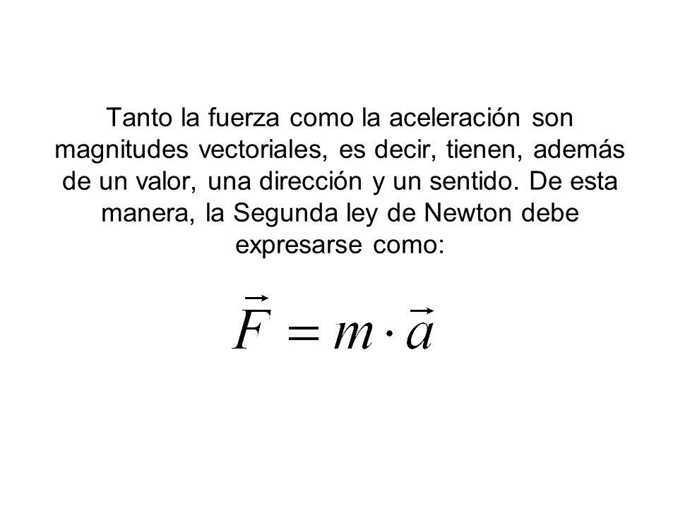 Tanto la fuerza como la aceleración son magnitudes vectoriales, es decir, tienen, además de un valor, una dirección y un sentido. De esta manera, la S