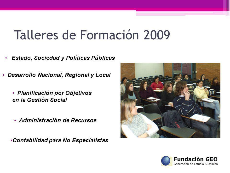 Estado, Sociedad y Políticas Públicas Talleres de Formación 2009 Desarrollo Nacional, Regional y Local Planificación por Objetivos en la Gestión Socia