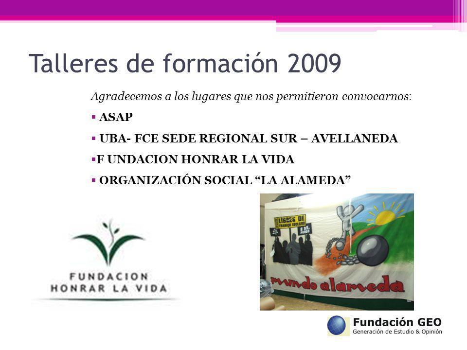 Talleres de formación 2009 Agradecemos a los lugares que nos permitieron convocarnos : ASAP UBA- FCE SEDE REGIONAL SUR – AVELLANEDA F UNDACION HONRAR