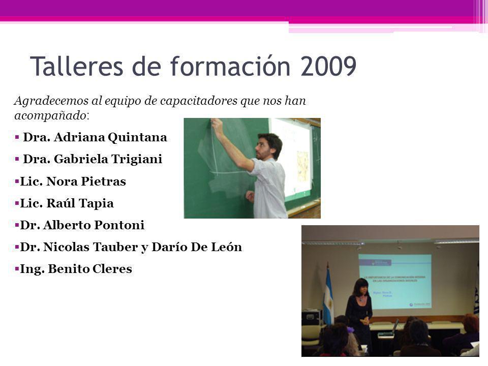 Talleres de formación 2009 Agradecemos al equipo de capacitadores que nos han acompañado : Dra. Adriana Quintana Dra. Gabriela Trigiani Lic. Nora Piet