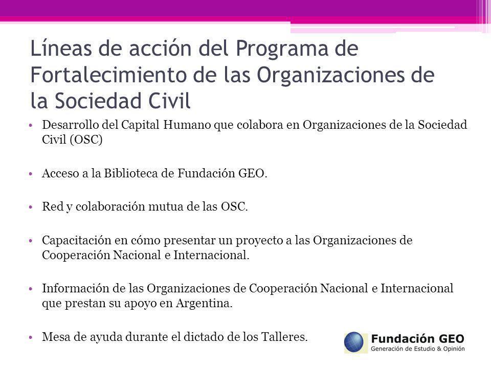 Líneas de acción del Programa de Fortalecimiento de las Organizaciones de la Sociedad Civil Desarrollo del Capital Humano que colabora en Organizacion
