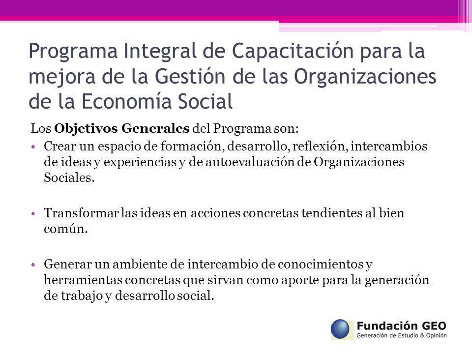 Programa Integral de Capacitación para la mejora de la Gestión de las Organizaciones de la Economía Social Los Objetivos Generales del Programa son: C