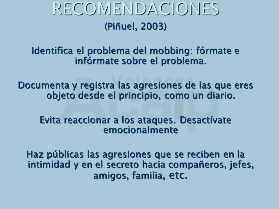 RECOMENDACIONES (Piñuel, 2003) Identifica el problema del mobbing: fórmate e infórmate sobre el problema. Documenta y registra las agresiones de las q