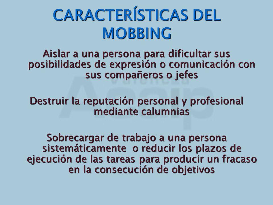 CARACTERÍSTICAS DEL MOBBING Aislar a una persona para dificultar sus posibilidades de expresión o comunicación con sus compañeros o jefes Destruir la
