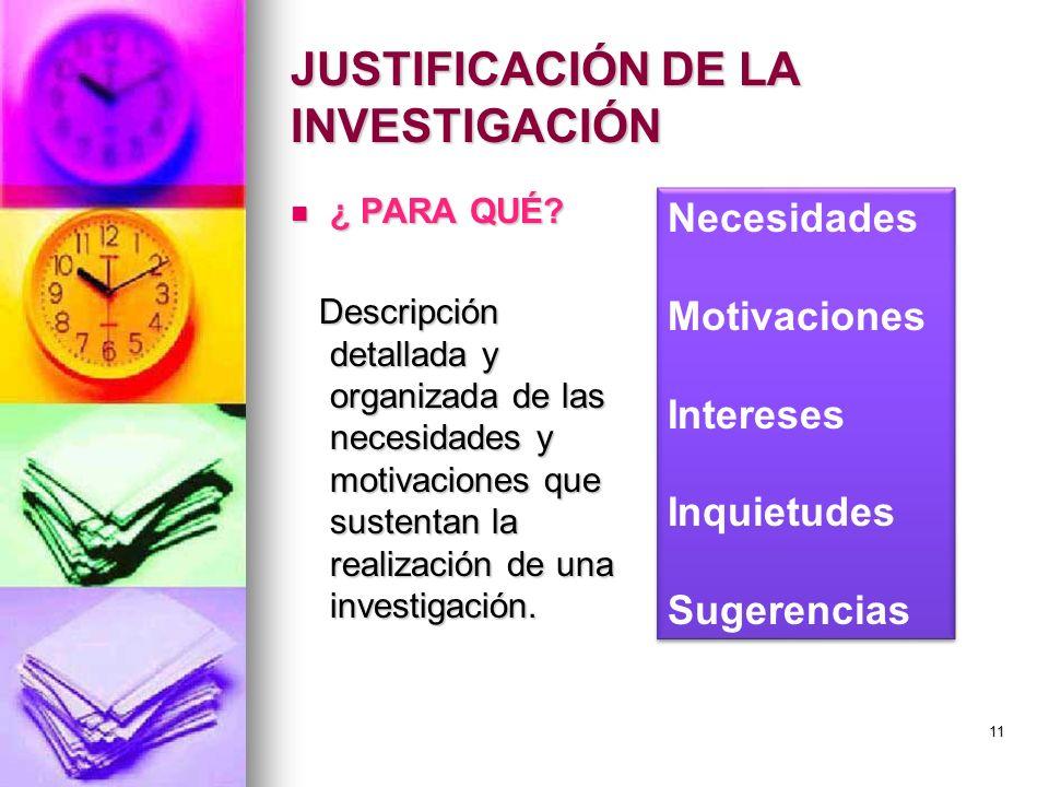 JUSTIFICACIÓN DE LA INVESTIGACIÓN ¿ PARA QUÉ? ¿ PARA QUÉ? Descripción detallada y organizada de las necesidades y motivaciones que sustentan la realiz