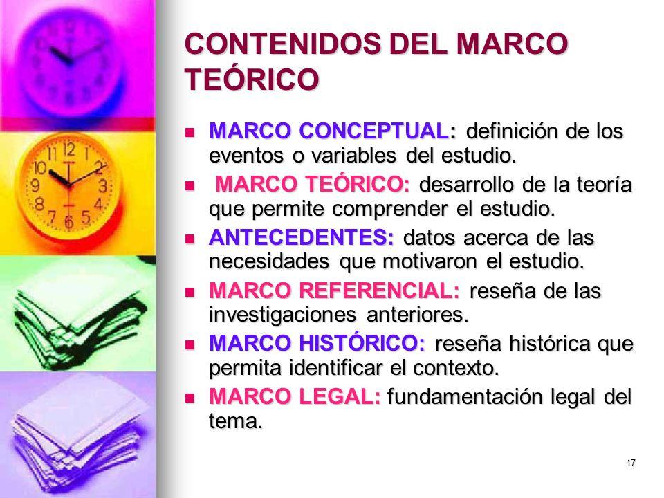 CONTENIDOS DEL MARCO TEÓRICO MARCO CONCEPTUAL: definición de los eventos o variables del estudio. MARCO CONCEPTUAL: definición de los eventos o variab